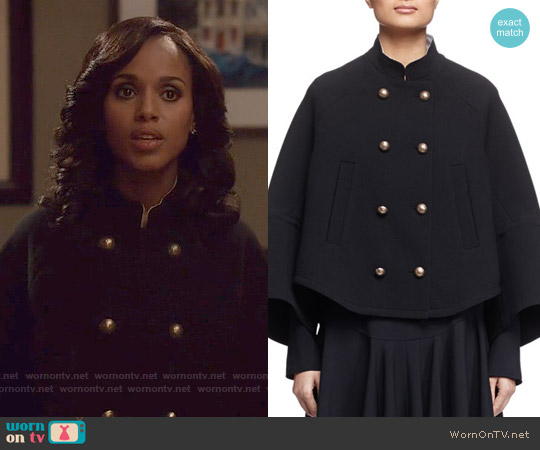 Chloe Mandarin-Collar Double-Breasted Topper Coat worn by Kerry Washington on Scandal