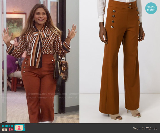Chloe Buttoned Flared Trousers worn by Mindy Lahiri on The Mindy Project