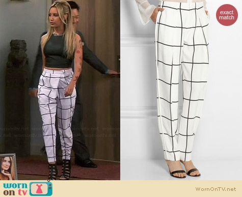 Chloe Check Crepe Straight Leg Pants worn by Ashley Tisdale on Young & Hungry
