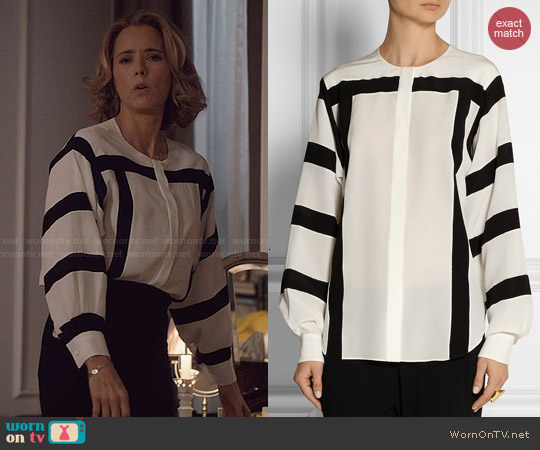 Chloé Printed silk-crepe blouse worn by Téa Leoni on Madam Secretary