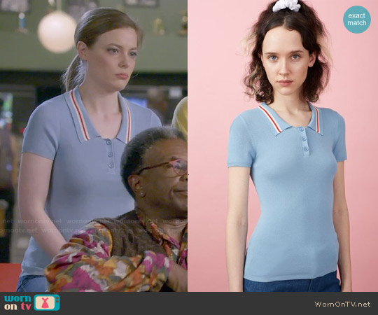 Chloe Sevigny for Opening Ceremony 'Westerburg' Short Sleeve Polo Top worn by Gillian Jacobs on Community