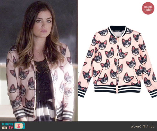 WornOnTV: Aria's pink cat print bomber jacket and striped maxi ...