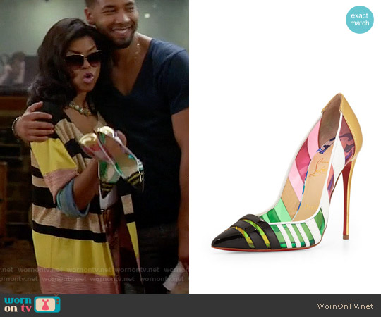 Christian Louboutin Front Double Multicolor PVC & Leather Pump worn by Taraji P. Henson on Empire
