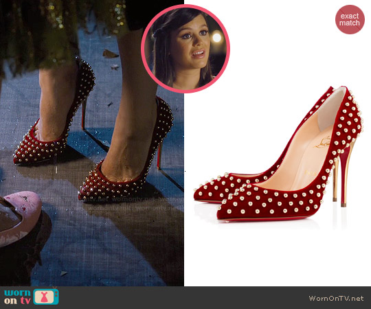 Christian Louboutin 'Billy' Velvet Studded Pumps worn by Rachel Bilson on Hart of Dixie