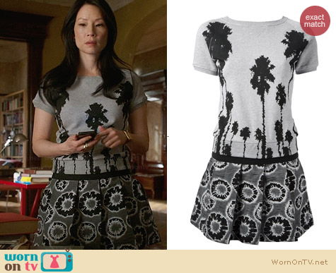 Christian Pellizzari Tree Print Dress worn by Lucy Liu on Elementary