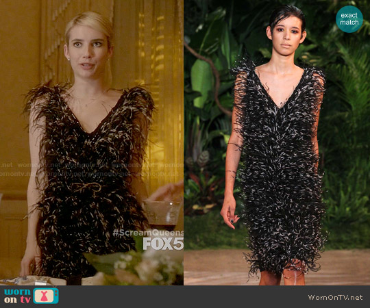 Christian Siriano Ostrich Feather Shift Dress worn by Emma Roberts on Scream Queens