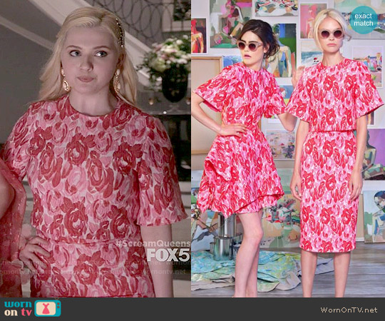 Christian Siriano Resort 2015 Floral Top and Skirt worn by Abigail Breslin on Scream Queens