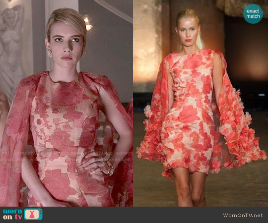 Christian Siriano Spring 2014 Floral Dress worn by Emma Roberts on Scream Queens
