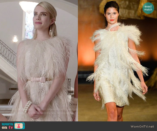 Christian Siriano Spring 2014 Collection Feather Dress worn by Emma Roberts on Scream Queens