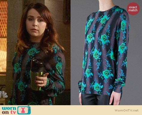 Christopher Kane Floral Sweater worn by Mae Whitman on Parenthood