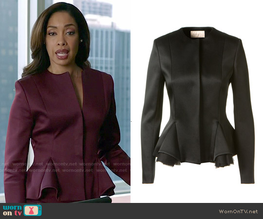 Christopher Kane Satin Peplum Jacket worn by Gina Torres on Suits