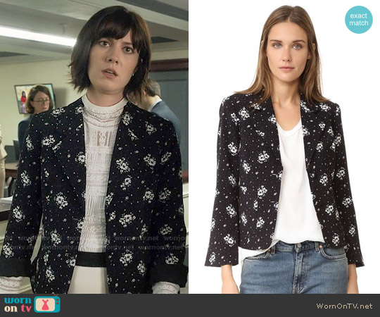 Cinq a Sept 'Stardust' Onyx Blazer worn by Laurel Healy on BrainDead