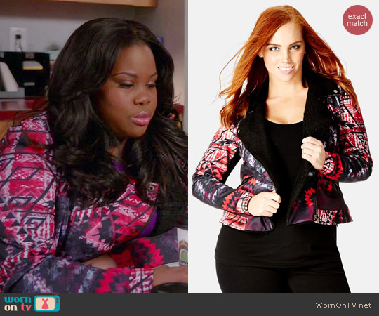 City Chic 'Aztec Mirage' Aviator Jacket worn by Amber Riley on Glee