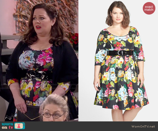 City Chic Floral Print Fit & Flare Dress worn by Melissa McCarthy on Mike & Molly