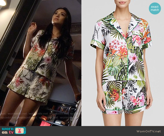 Clover Canyon Botanical Spring Short Pajamas worn by Shay Mitchell on PLL