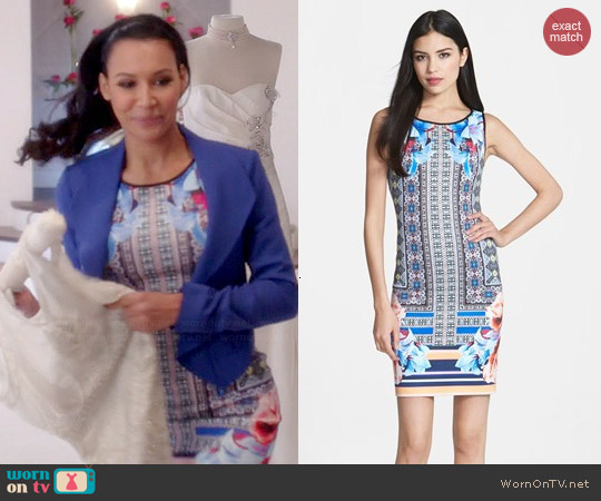 Clover Canyon Byzantine Scarf Print Dress worn by Naya Rivera on Glee
