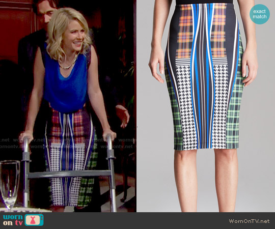 Clover Canyon Dublin Fitted Neoprene Skirt worn by Linsey Godfrey on The Bold & the Beautiful