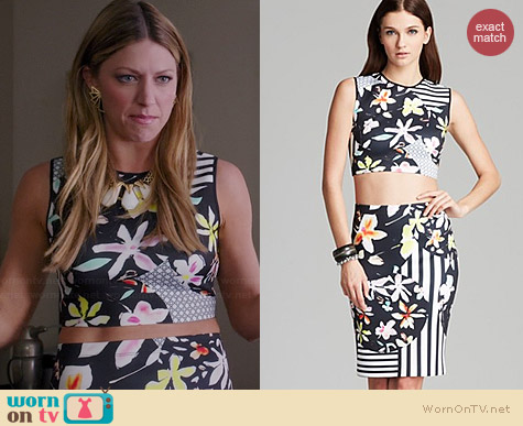 Clover Canyon Floral Disc Crop Top and Skirt worn by Jes Macallan on Mistresses