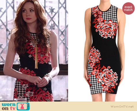 Clover Canyon Floral Houndstooth Dress worn by Karen Gillan on Selfie
