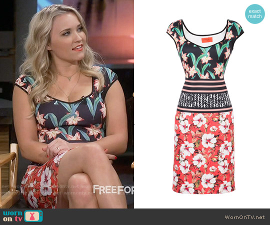 Clover Canyon Floral Sunrise Sheath worn by Emily Osment on Young & Hungry