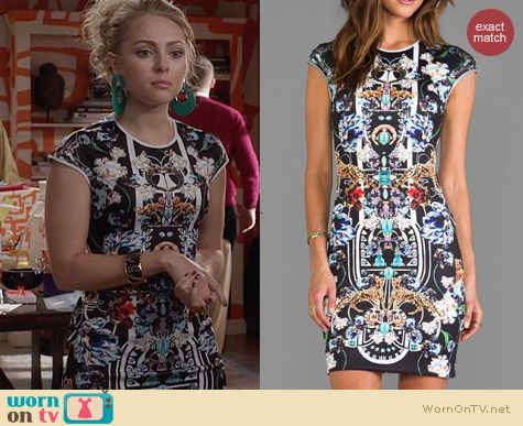 Clover Canyon Gold Panther Dress worn by AnnaSophia Robb on The Carrie Diaries