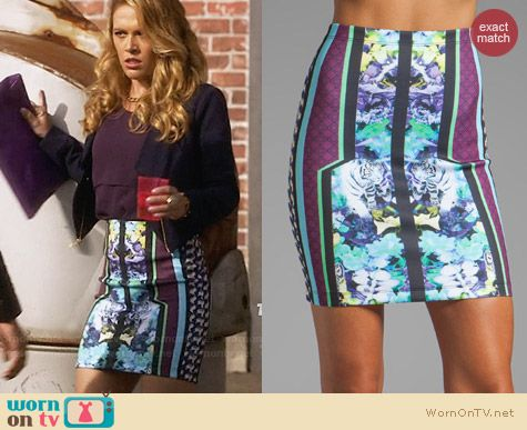 Clover Canyon Graphic Flowers Skirt worn by Natalie Hall on Star-Crossed