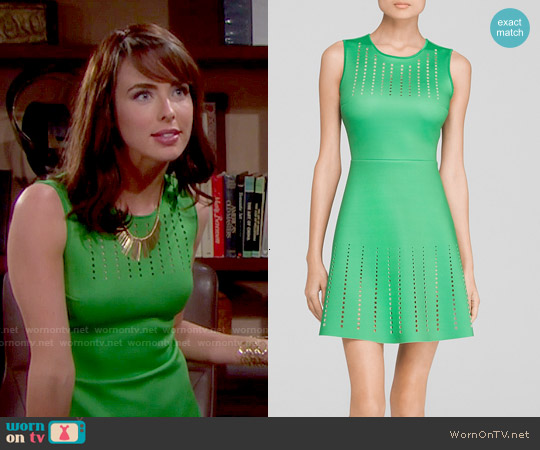 Clover Canyon Green Perforated Dress worn by Ashleigh Brewer on The Bold & the Beautiful