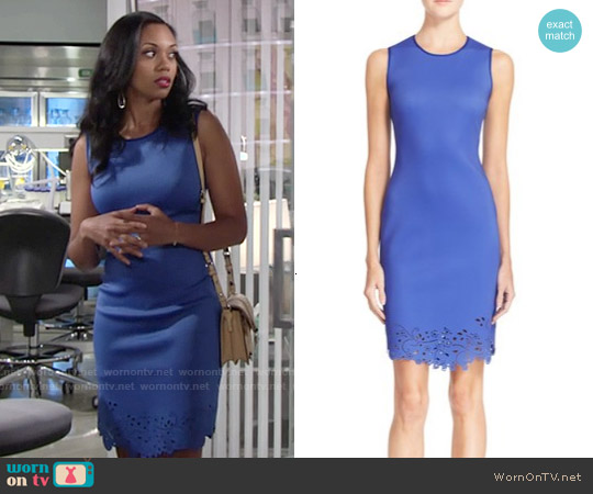 Clover Canyon Laser Cut Body-Con Sheath Dress worn by Mishael Morgan on The Young & the Restless