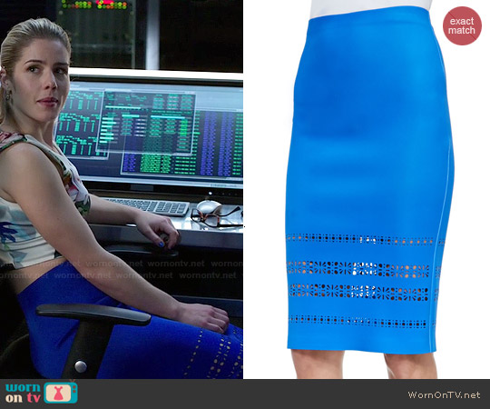Clover Canyon Pencil Skirt w/ Laser Cut Hem worn by Felicity Smoak on Arrow