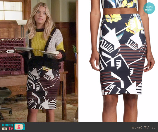 Clover Canyon Printed Neoprene Pencil Skirt worn by Hanna Marin on PLL