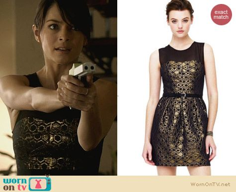 Club Monaco Gold Bria Honeycomb Dress worn by Kristen Kreuk on Beauty and the Beast