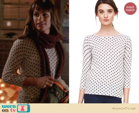 Club Monaco Abby Dot Sweater worn by Lea Michele on Glee