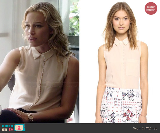 Club Monaco Amya Shirt in Cameo Pink worn by Piper Perabo on Covert Affairs