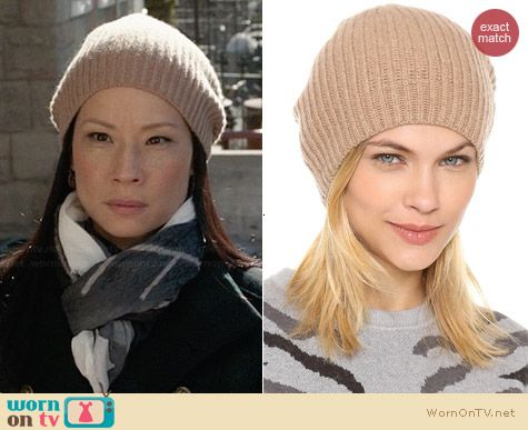 Club Monaco Colleen Cashmere Hat worn by Lucy Liu on Elementary