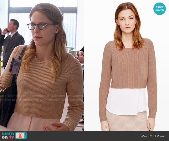 Club Monaco 'Coryn' Sweater in Camel worn by Melissa Benoist on Supergirl