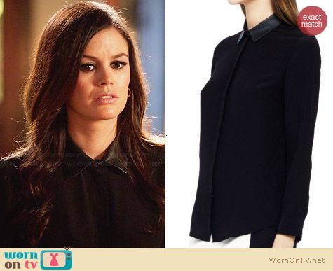 Club Monaco Denise Leather Collar Shirt worn by Rachel Bilson on Hart of Dixie