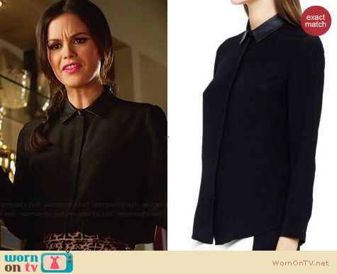 Club Monaco Denise Leather Collar Shirt worn by Zoe Hart on Hart of Dixie