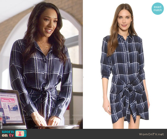 Club Monaco Ladore Tie Front Silk Dress worn by Candice Patton on The Flash