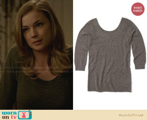 Club Monaco Lorraine Cashmere Sweater worn by Emily VanCamp on Revenge