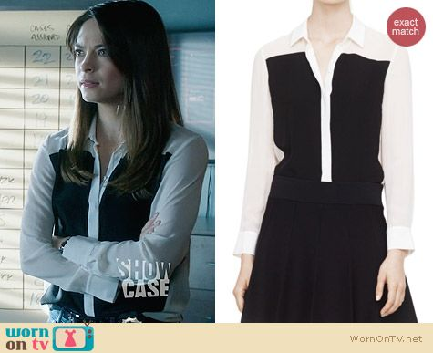 Club Monaco Maggie Blocked Silk Blouse worn by Kristin Kreuk on BATB