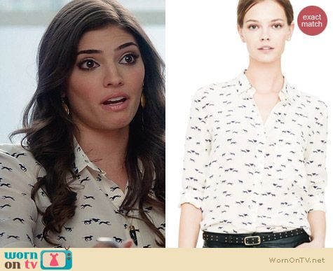 Club Monaco Tomi Greyhound Print Shirt worn by Amanda Setton on The Crazy Ones