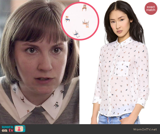 Club Monaco Trista Shirt in Have a Seat worn by Hannah Horvath on Girls