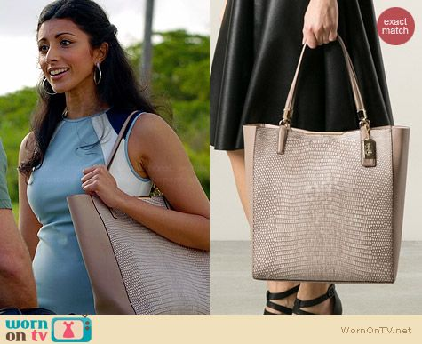 Coach Madison North/South Bonded Tote worn by Reshma Shetty on Royal Pains