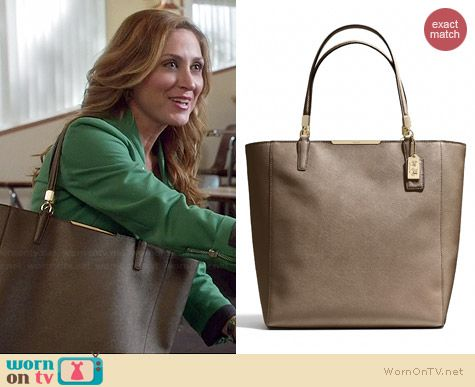 Coach Madison North/South Tote in Bronze worn by Sasha Alexander on Rizzoli & Isles