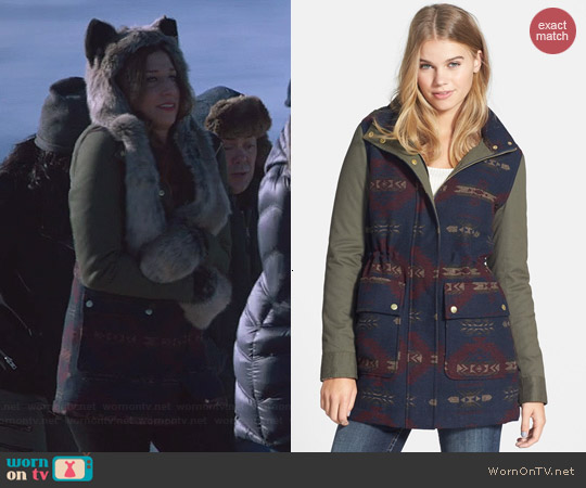 Coffee Shop Aztec Mixed Media Hooded Coat worn by Chelsea Peretti on Brooklyn 99