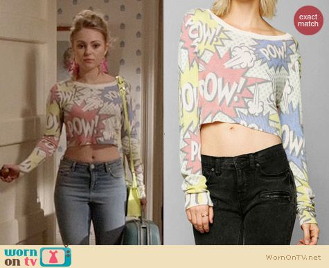 Urban Outfitters Coincidence & Chance Cropped Comic Sweater worn by AnnaSophia Robb on The Carrie Diaries