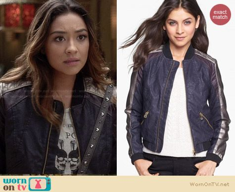 Collection B Multicolor Leather Bomber Jacket worn by Shay Michell on PLL