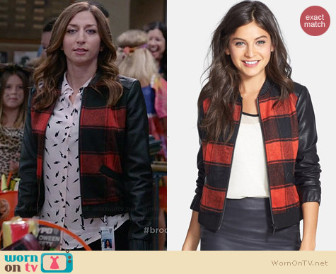 Collection B Plaid Baseball Jacket worn by Chelsea Peretti on Brooklyn 99