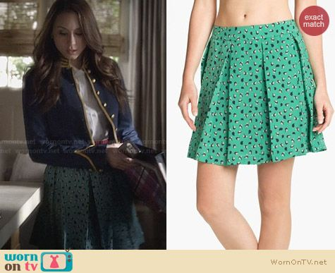 Collective Concepts Bird Print Pleated Skirt worn by Troian Bellisario on PLL