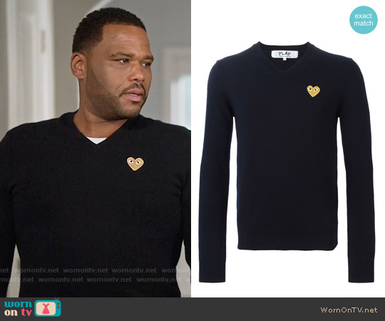 Comme Des Garcons PLAY Heart Embroidered Sweater worn by Anthony Anderson on Blackish